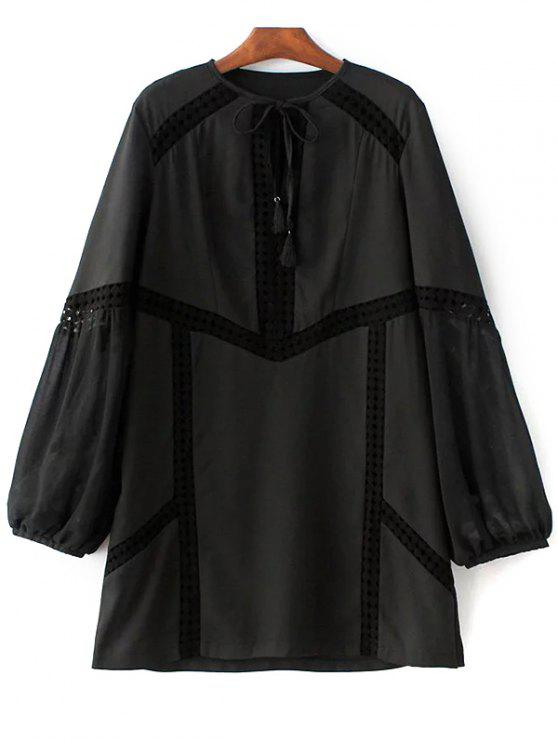Recorte de ganchillo See-Through vestido - Negro S