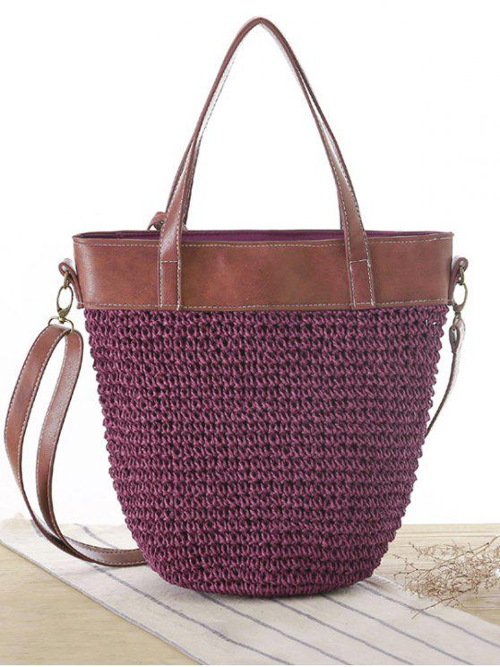 Splicing Tissage Straw Shoulder Bag - Pourpre