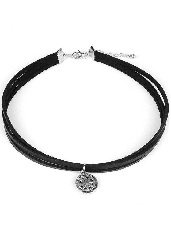 fancy PU Leather Round Pendant Choker - BLACK