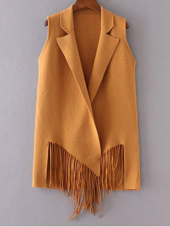 womens Fringed Knitted Lapel Waistcoat - DEEP YELLOW ONE SIZE
