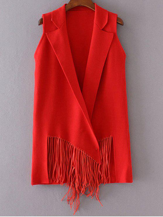 ladies Fringed Knitted Lapel Waistcoat - RED ONE SIZE