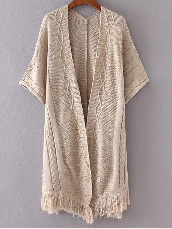 womens Kimono Sleeve Open Cardigan - KHAKI ONE SIZE