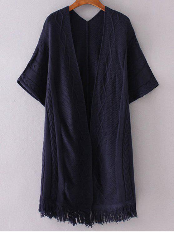 Ouvrez Kimono avant manches Cardigan - Bleu Violet Taille Unique