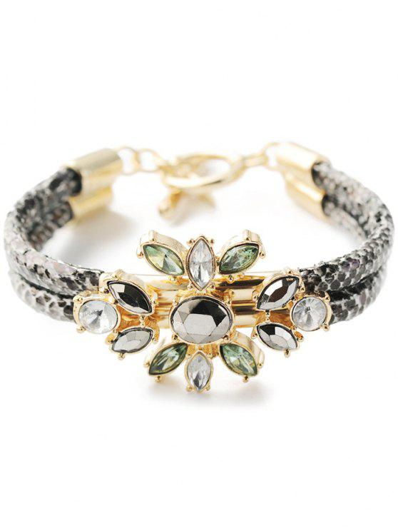 affordable PU Leather Faux Crystal Bracelet - GOLDEN