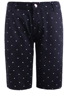 Refreshing Straight Leg Dot Print Zipper Fly Fitted Shorts For Men - Black 30