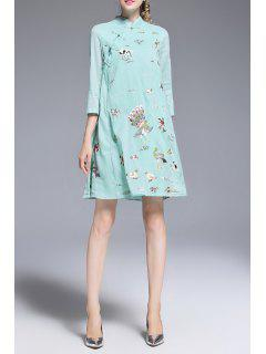Embroidery Cheongsam  A Line Dress - Light Blue M