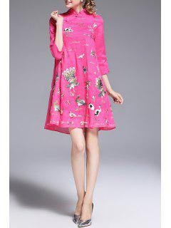 Embroidery Cheongsam  A Line Dress - Rose Red M