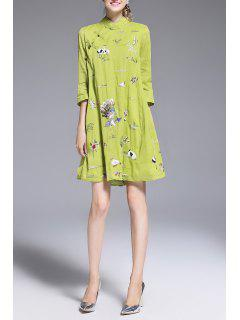 Embroidery Cheongsam  A Line Dress - Green M