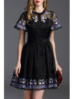 Floral Embroidered Mini Fit And Flare Dress - Black Xl