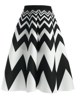 Zig Zag High Waisted Skirt - White And Black
