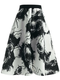 Ink Painting High Waisted Skirt - White And Black