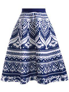 High Waisted Blue And White Porcelain Print Skirt - Blue And White