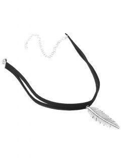 Alloy Feather Choker - Black