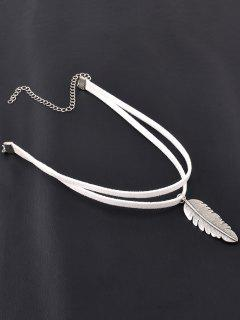 Alloy Feather Choker - White