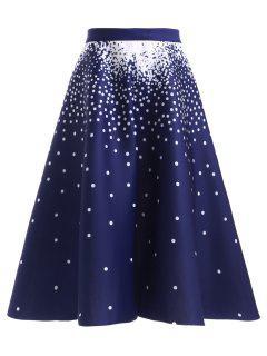 High Waisted Polka Dot Skirt - Deep Blue