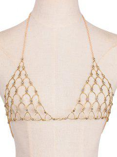 Rhinestone Bra Triangle Body Jewelry - Golden