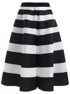 Striped High Waisted Skirt - White And Black