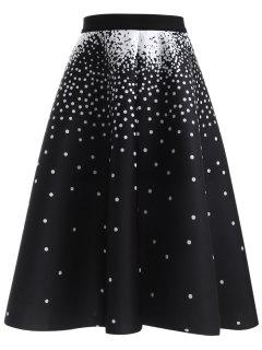Polka Dot High Waisted Skirt - Black
