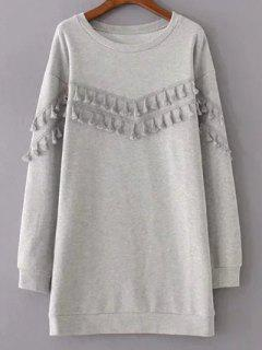 Fringed Grey Sweatshirt Dress - Gray S