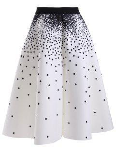 High Waisted Polka Dot Print Skirt - White