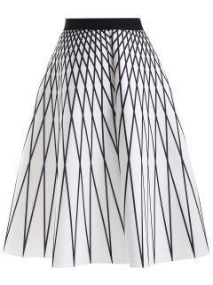 Modelo De Argyle De La Falda De Talle Alto - Blanco