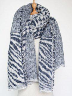 Houndstooth Zebra Stripe Scarf - Blue