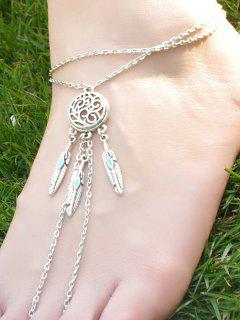 Faux Turquoise Feather Anklet - Silver