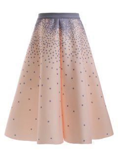 Polka Dot A Line Skirt - Apricot
