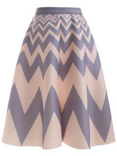 High Waisted Chevron Skirt - Apricot