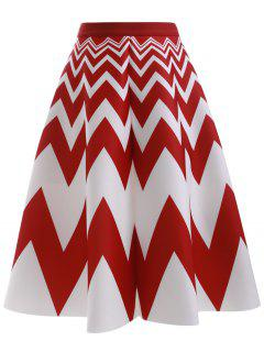 High Waisted Zig Zag A Line Skirt - Red With White