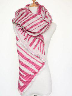Winter Geometry Stripe Scarf - Rose Red