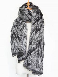Winter Chevron Stripe Scarf - Black