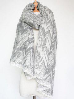 Winter Chevron Stripe Scarf - Light Gray