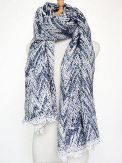 Winter Chevron Stripe Scarf - Blue