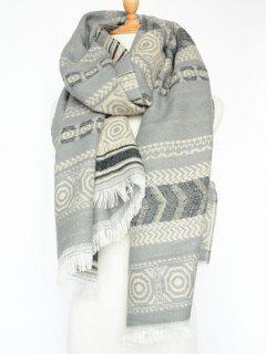 Winter Bohemian Geometry Scarf - Light Gray