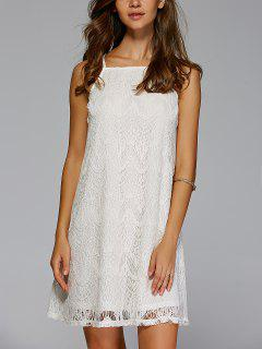 Crochet Solid Color Cami Dress - Off-white S