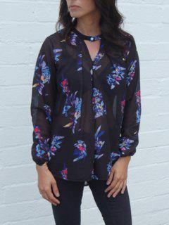 V-Neck Colourful Flower Print Long Sleeve Shirt - Black Xl