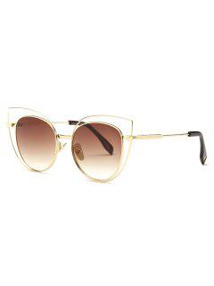 Hollow Cat Eye Sunglasses - Tea-colored