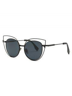 Hollow Out Black Cat Eye Sunglasses - Black