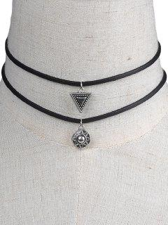 Faux Leather Geometric Chokers - Black