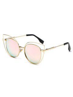 Hollow Cat Eye Mirrored Sunglasses - Pink