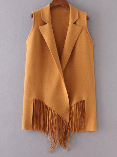 Fringed Knitted Lapel Waistcoat - Deep Yellow