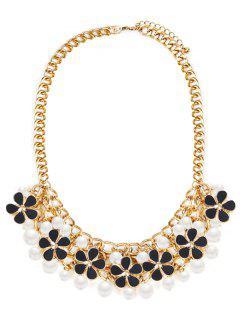 Collar De Joyería De La Boda De La Perla De Faux Floral - Negro