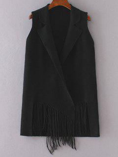 Fringed Knitted Lapel Waistcoat - Black