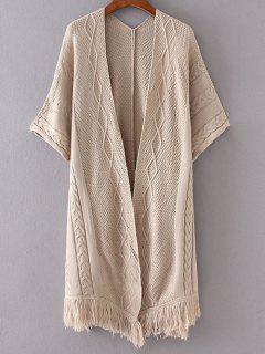 Ouvrez Kimono Avant Manches Cardigan - Kaki