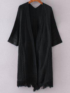 Ouvrez Kimono Avant Manches Cardigan - Noir