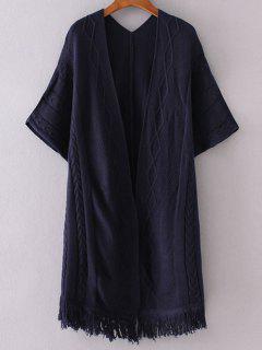 Kimono Sleeve Open Cardigan - Purplish Blue