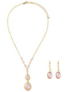 Fake Crystal Necklace And Earrings - Pink