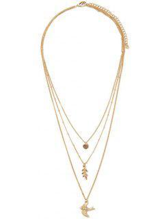 Leaf Fly Bird Rhinestone Necklace - Golden