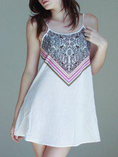 Spaghetti Strap Stripes Printed Sleeveless Dress - White Xl